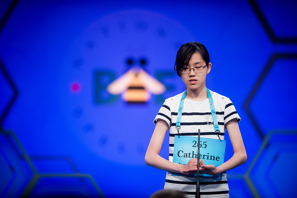 Catherine Chung, 14, from Sejong-si, South Korea, participates in the finals of the 2017 Scripps National Spelling Bee on Thursday, June 1, 2017 at the Gaylord National Resort and Convention Center at National Harbor in Oxon Hill, Md.      Photo by Pete Marovich/UPI