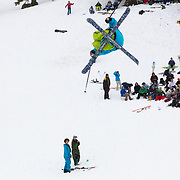 Rory McCabe in a tight spin over the Mount Baker unsanctioned Sesh Up in the backcountry near Mount Baker Ski Area
