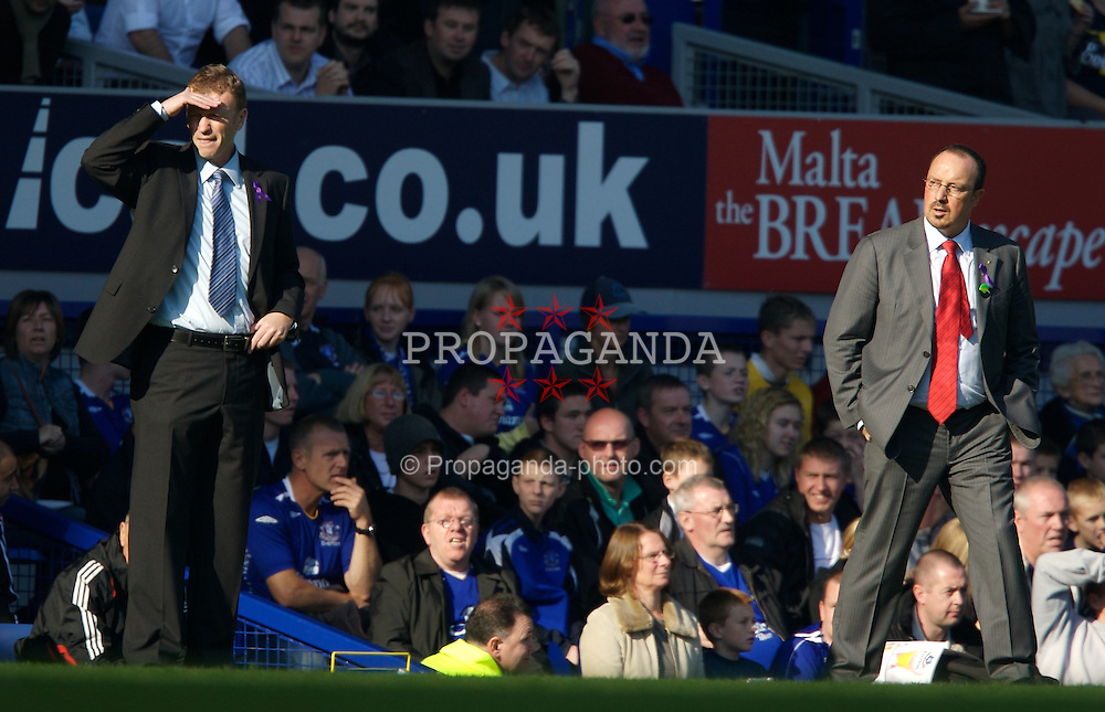 Liverpool, England - Saturday, October 20, 2007: Liverpool's manager Rafael Benitez and Everton's manager David Moyes during the 206th Merseyside Derby match at Goodison Park. (Photo by David Rawcliffe/Propaganda)