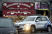 Nov. 16, 2015 - Brussels, BELGIUM - <br /> BRUSSELS, BELGIUM:<br /> <br /> Search for Paris Terror Suspect in Brussels<br /> <br /> Illustration shows a police car in Sint-Jans-Molenbeek / Molenbeek-Saint-Jean, Brussels on Monday 16 November 2015. During the weekend searches were carried out and multiple people were arrested in relation to Friday's terrorist attacks in Paris. Several terrorist attacks in Paris, France, have left at least 129 dead and 350 injured. Most people were killed during a concert in venue Bataclan, the other targets were a restaurant and a soccer game. The attacks have been claimed by Islamic State.<br /> ©Exclusivepix Media