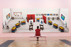 "© Licensed to London News Pictures. 05/06/2018. LONDON, UK. A staff member views ""Seven Trollies, Six and a Half Stools, Six Portraits, Eleven Paintings and Two Curtains"" by David Hockney RA at a preview of the 250th Summer Exhibition at the Royal Academy of Arts in Piccadilly, which has been co-ordinated by Grayson Perry RA this year.  Running concurrently, is The Great Spectacle, featuring highlights from the past 250 years.  Both shows run 12 June to 19 August 2018.  Photo credit: Stephen Chung/LNP"