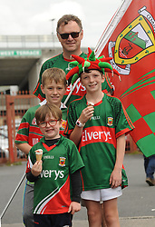 Mayo supporters Brian McGowan from Castlebar  with sons Ewan and Fionn and their Aidan Byrne on their way to the  Gaelic Grounds Limerick for  the qualifer clash against Cork.<br />