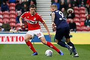 Middlesbrough defender Dael Fry (20)  during the EFL Sky Bet Championship match between Middlesbrough and Derby County at the Riverside Stadium, Middlesbrough, England on 27 October 2018.