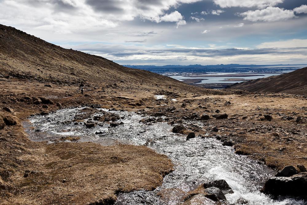 Small stream on Mount Esja, North of Reykjavik, Iceland. Lækur rennur niður Esjuna.