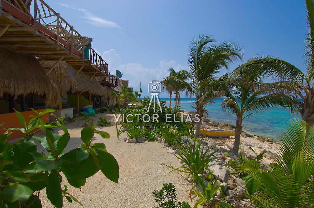 Palapas for motorhomes. Bay of Paamul. Quintana Roo. Mexico.