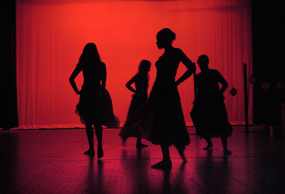"Gloucester: The Gloucester High School theater program will perform the musical comedy, ""Guys and Dolls"" on May 1, 2 and 3. Rehearsing a dance sequence here Monday are, from left, junior Sara Pardo, senior Alishia Martin, junior Lucy Morgan, and junior Tonianne Piscitello. Shows are at 7.00 p.m. in the GHS Putney Auditorium. Tickets are $5 for students and $7 for adults..Photo by Mike Dean/Gloucester Daily Times"