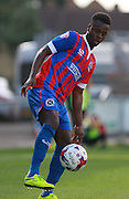 Dagenham player Zavon Hines on the ball during the Sky Bet League 2 match between Dagenham and Redbridge and Newport County at the London Borough of Barking and Dagenham Stadium, London, England on 19 September 2015. Photo by Bennett Dean.