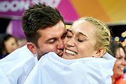 Great Britain, London - 2017 August 12: Kamila Licwinko (Podlasie Bialystok) of Poland with her trainer coach and husband Michal Licwinko celebrate bronze medal in women&rsquo;s high jump final during IAAF World Championships London 2017 Day 9 at London Stadium on August 12, 2017 in London, Great Britain.<br /> <br /> Mandatory credit:<br /> Photo by &copy; Adam Nurkiewicz<br /> <br /> Adam Nurkiewicz declares that he has no rights to the image of people at the photographs of his authorship.<br /> <br /> Picture also available in RAW (NEF) or TIFF format on special request.<br /> <br /> Any editorial, commercial or promotional use requires written permission from the author of image.