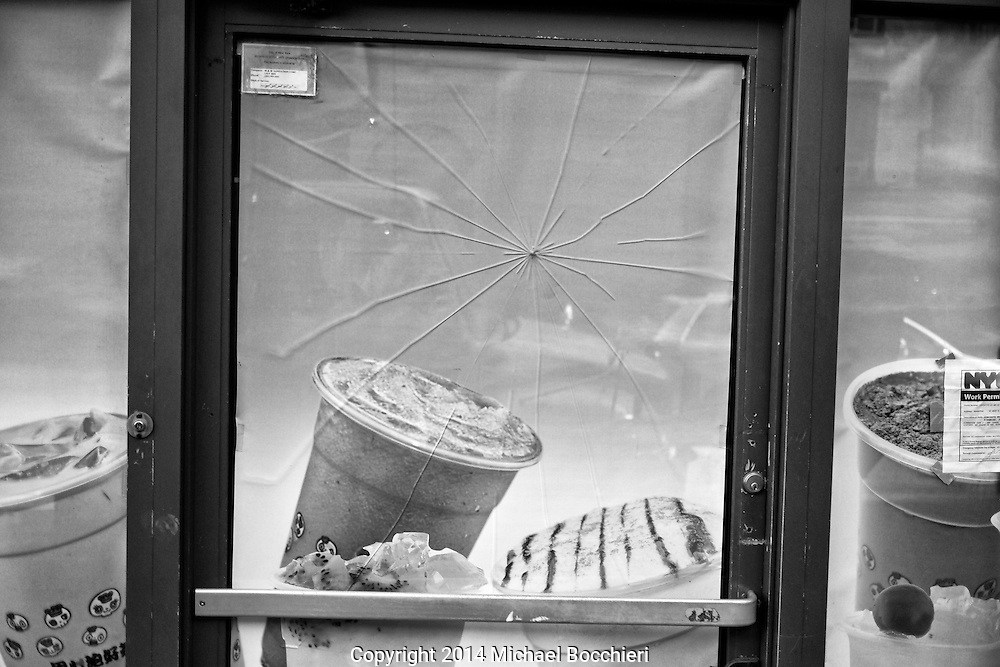 NEW YORK, NY - October 28:  A cracked window on October 28, 2014 in NEW YORK, NY.  (Photo by Michael Bocchieri/Bocchieri Archive)