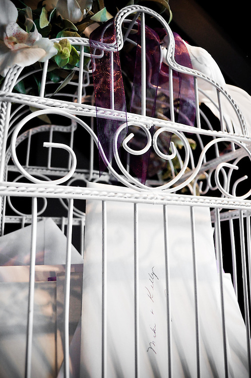 Mike & Kelly's bird cage for wedding cards at A New Leaf in Chicago, Illinois