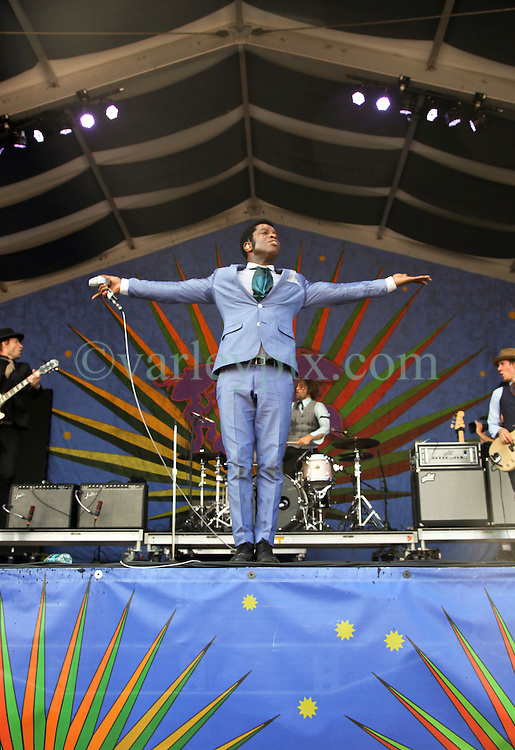 02 May 2015. New Orleans, Louisiana.<br /> The New Orleans Jazz and Heritage Festival. <br /> Ty Taylor of Vintage Trouble wows fans at the Genilly Stage.<br /> Photo; Charlie Varley/varleypix.com