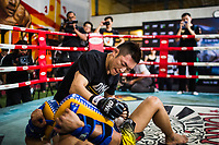 Yoshitaka Naito, an undefeated Japanese contender, spars with a partner at Bangkok Fight Lab during a media event in the capital.