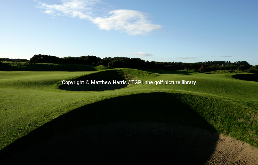 Carnoustie Golf Links 6th par 5 'Hogan's Alley' during autumn,Carnoustie,Angus,Scotland.