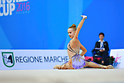 """Andreotti Jaedyn during hoop routine at the International Tournament of rhythmic gymnastics """"Città di Pesaro"""", 01 April,2016. Jaedyn is an Canadian individualistic gymnast, born in  Calgary, 2002.<br /> This tournament dedicated to the youngest athletes is at the same time of the World Cup."""