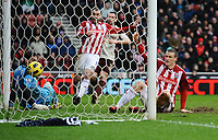 Football - Premier League - Stoke City vs. Sunderland<br /> Robert Huth of Stoke City scores the winning goal in extra time at the Britannia Stadium, Stoke
