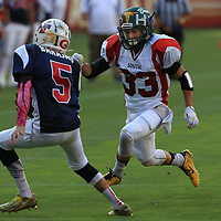 (Photograph by Bill Gerth/ for SVCN/6/24/17) Leigh #33 Leland Ledger moves in for the tackle in the Charie Wedemeyer All Star Game at Levi Stadium, San Jose CA on 6/24/17. (North 13 South 13)