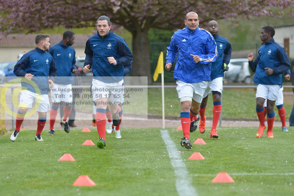 Warming up, FRA v CZE at the 2016 Football des Sourds France V Tcheque Republique, Igny,