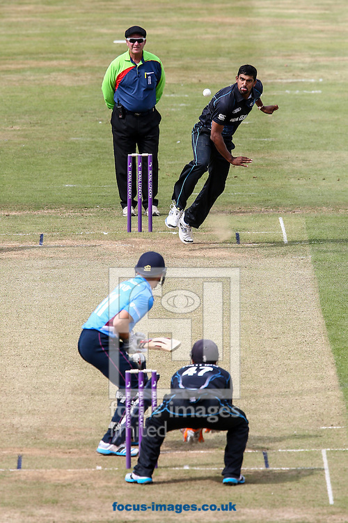 Ish Sodhi of New Zealand A (top right) in delivery stride  during the Tour Match match at the County Ground, Northampton, Northampton<br /> Picture by Andy Kearns/Focus Images Ltd 0781 864 4264<br /> 31/07/2014