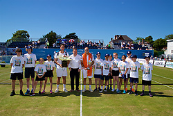LIVERPOOL, ENGLAND - Sunday, June 18, 2017: Men's Champion Steve Darcis (BEL) with the trophy, runner-up Marcus Willis (GBR) and the ball boys and girls during Day Four of the Liverpool Hope University International Tennis Tournament 2017 at the Liverpool Cricket Club. (Pic by David Rawcliffe/Propaganda)