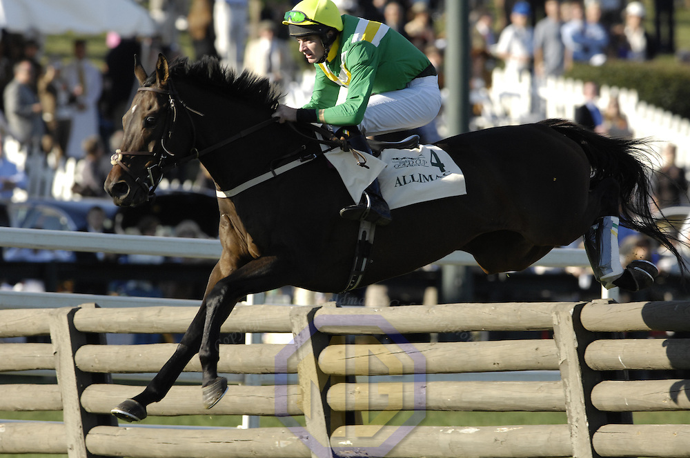 20 October 2007:  Jockey James Fahery rides Allimac over a timber hurdle in the $50,000 Porsche International Gold Cup during the 70th running of the International Gold Cup Races on October 20, 2007 at the Great Meadow in The Plains, Va.  The race was won by See youattheevent (2) ridden by Robert Walsh with Shadyvalley (6) ridden by Russell Haynes and Woodmont (5) with Jeff Murphy aboard finishing 2nd and 3rd.