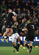JOHANNESBURG, South Africa, 25 July 2015 : Israel Dagg of the All Blacks wins control of the ball in the air from Bryan Habana of the Springboks during the Castle Lager Rugby Championship test match between SOUTH AFRICA and NEW ZEALAND at Emirates Airline Park in Johannesburg, South Africa on 25 July 2015. Bokke 20 - 27 All Blacks<br /> <br /> © Anton de Villiers / SASPA
