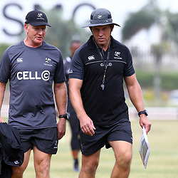 DURBAN, SOUTH AFRICA - JANUARY 23: Dick Muir as an attack and backline consultant of the Cell C Sharks with Braam van Straaten during the Cell C Sharks training session at Growthpoint Kings Park on January 23, 2018 in Durban, South Africa. (Photo by Steve Haag/Gallo Images)