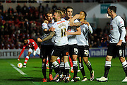 Derby County forward Johnny Russell celebrates scoring the opening goal, giving the visitors a 1-0 lead during the Sky Bet Championship match between Bristol City and Derby County at Ashton Gate, Bristol, England on 19 April 2016. Photo by Graham Hunt.