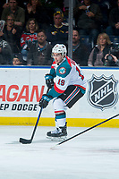 KELOWNA, CANADA - MARCH 14:  Dillon Dube #19 of the Kelowna Rockets skates with the puck against the Prince George Cougars on March 14, 2018 at Prospera Place in Kelowna, British Columbia, Canada.  (Photo by Marissa Baecker/Shoot the Breeze)  *** Local Caption ***