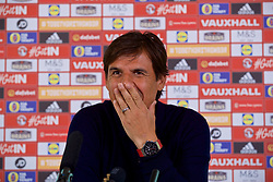 CARDIFF, WALES - Friday, August 25, 2017: Wales' manager Chris Coleman during a press conference at the Vale Resort to announce his squad for the forthcoming 2018 FIFA World Cup Qualifying Group D games against Austria and Moldova. (Pic by David Rawcliffe/Propaganda)
