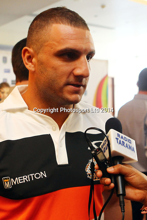 Tigers captain Robbie Farah, NRL Nines, Captains and Coaches Breakfast ahead of the Dick Smith NRL Nines rugby league competition. Pullman Hotel, Auckland. 14 February 2014. Photo: William Booth/www.photosport.co.nz