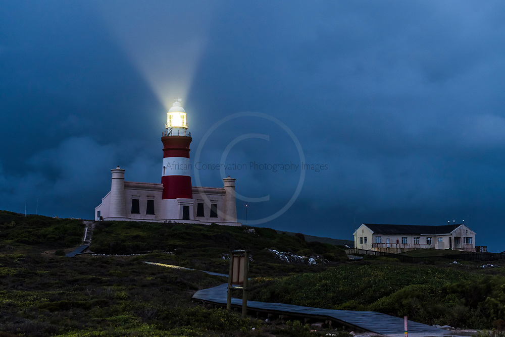 Agulhas Lighthouse during a winter storm, Agulhas National Park, Western Cape, South Africa