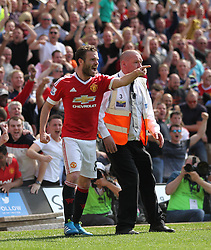 Juan Mata of Manchester United celebrates scoring his sides first goal - Mandatory by-line: Jack Phillips/JMP - 07/05/2016 - FOOTBALL - Carrow Road - Norwich, England - Norwich City v Manchester United - Barclays Premier League