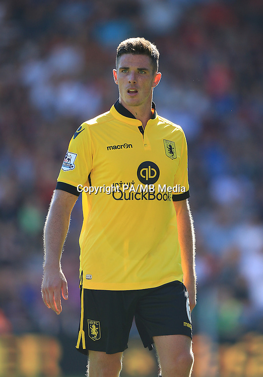 """Aston Villa's Ciaran Clark during the Barclays Premier League match at the Vitality Stadium, Bournemouth. PRESS ASSOCIATION Photo. Picture date: Saturday August 8, 2015. See PA story SOCCER Bournemouth. Photo credit should read: John Walton/PA Wire. EDITORIAL USE ONLY. No use with unauthorised audio, video, data, fixture lists, club/league logos or """"live"""" services. Online in-match use limited to 45 images, no video emulation. No use in betting, games or single club/league/player publications."""