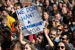 "© Licensed to London News Pictures. 31/08/2019. Manchester, UK. A placard reading "" We don't want a dictatorship "" .Thousands attend a pro EU demo in Albert Square Manchester City Centre , with objections raised to the Prime Minister Boris Johnson's intention to prorogue Parliament in the run up to Britain's planned Brexit deadline . Photo credit: Joel Goodman/LNP"