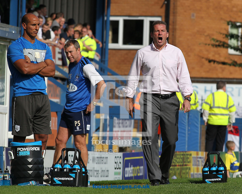 Picture by Michael Sedgwick/Focus Images Ltd +44 7900 363072.08/09/2012.Graham Westley, manager of Preston North End shouts instructions to his players during the npower League 1 match against Bury at Gigg Lane, Bury.