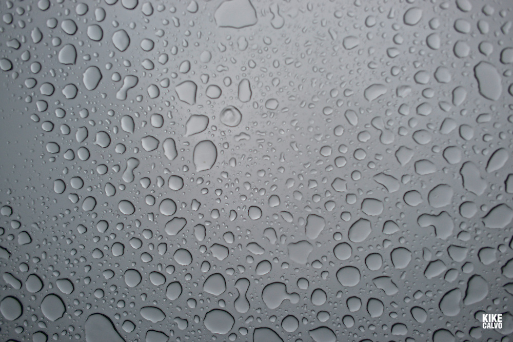 Rain drops seen on a window car from inside the vehicle.   May 29, 2014. (Kike Calvo via AP Images)