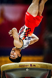 October 29, 2018 - Doha, Qatar - Kenzo Shirai of  Japan   during  Vault, Team final for Men at the Aspire Dome in Doha, Qatar, Artistic FIG Gymnastics World Championships on October 29, 2018. (Credit Image: © Ulrik Pedersen/NurPhoto via ZUMA Press)