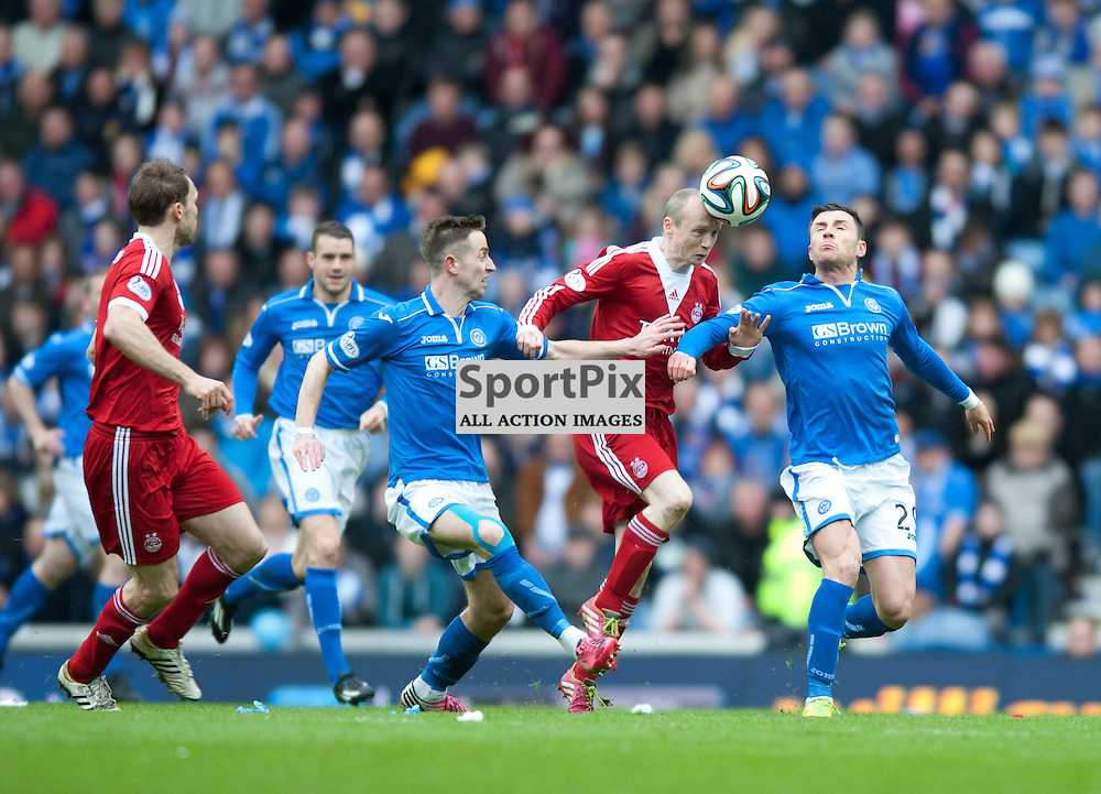 Willo Flood tussels with Michael O'Halloran and Steven MacLean for the ball. St Johnstone v Aberdeen, William Hill Scottish Cup Semi Final, Ibrox Park, Sunday 13 April 2014 (c) ANGIE ISAC | SportPix.org.uk