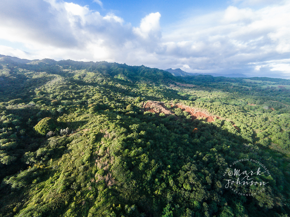 Aerial photograph of the Moloa'a Mountains, Kauai, Hawaii