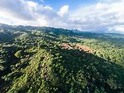 Aerial photograph of the Moloa'a Mountains, Kauai, Hawaii