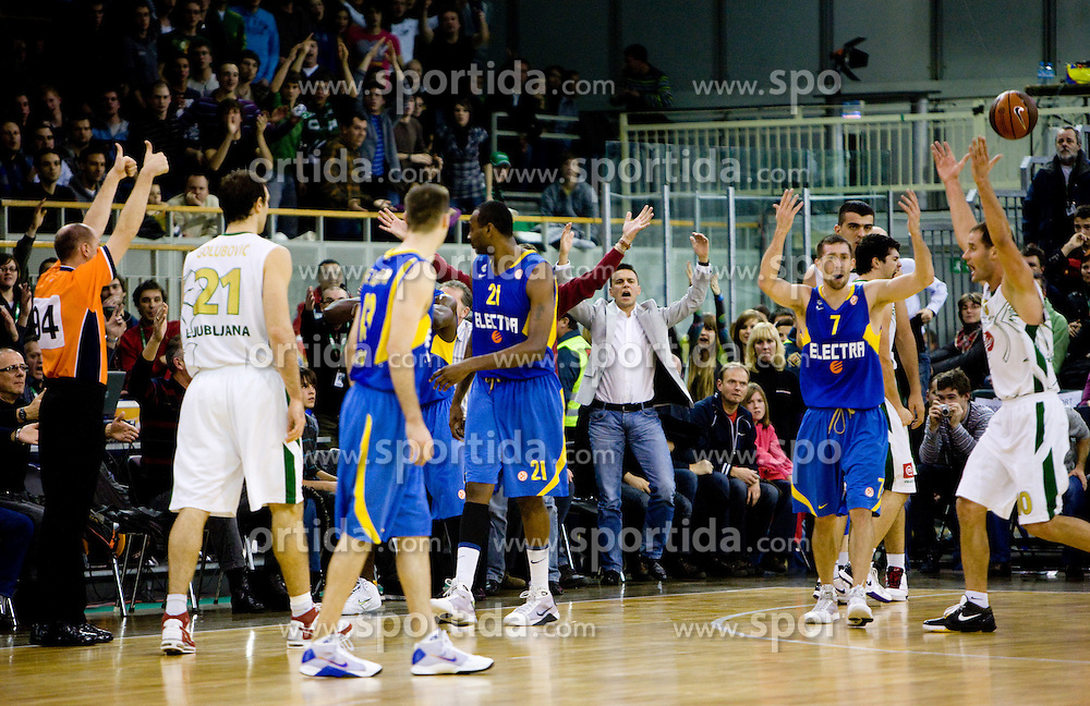 Players react after Referee's decision  at Euroleague basketball match in 6th Round of Group C between KK Union Olimpija and Maccabi Tel Aviv, on December 3, 2009, in Arena Tivoli, Ljubljana, Slovenia. Maccabi defeated Union Olimpija 82-65. (Photo by Vid Ponikvar / Sportida)