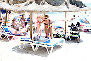 EXCLUSIVE<br /> Billie and sam Faiers spend a day at the beach in Ibiza with there children both girls looking stunning in bikinis <br /> ©Exclusivepix Media