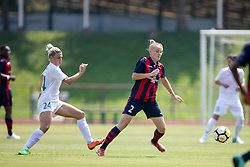 Mia Kalasic of ZNK Olimpija Ljubljana and Polina Shatsilenia of FC Minsk during football match between FC Minsk and ZNK Olimpija Ljubljana in 2nd Qualifying Group of UEFA Women's Champions League 2018/19, on August 7, 2018 in Stadion ZAK, Ljubljana, Slovenia. Photo by Urban Urbanc / Sportida