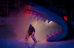 December 9, 2009; San Jose, CA, USA;  San Jose Sharks goalie Evgeni Nabokov (20) enters the game through the shark head before the game against the Los Angeles Kings at HP Pavilion. Los Angeles defeated San Jose 5-4 in overtime. Mandatory Credit: Jason O. Watson / US PRESSWIRE