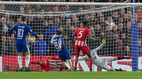 Football - 2017 / 2018 UEFA Champions League - Group C: Chelsea vs. Atletico Madrid<br /> <br /> Desperate defending as Jose Gimenez (Atletico Madrid) gets his head almost on the ground to block a Alvaro Morata (Chelsea FC)  attempt at Stamford Bridge.<br /> <br /> COLORSPORT/DANIEL BEARHAM