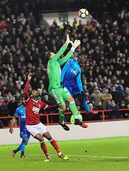 NOTTINGHAM FOREST GOALKEEPER JORDAN SMITH DENIES ARSENAL EDDIE NKETIAH,  Nottingham Forest v Arsenal Emirates FA Cup Third Round, City Ground Sunday 7th January 2018