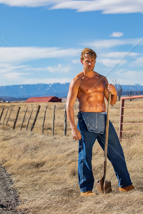 hot shirtless farmer outdoors