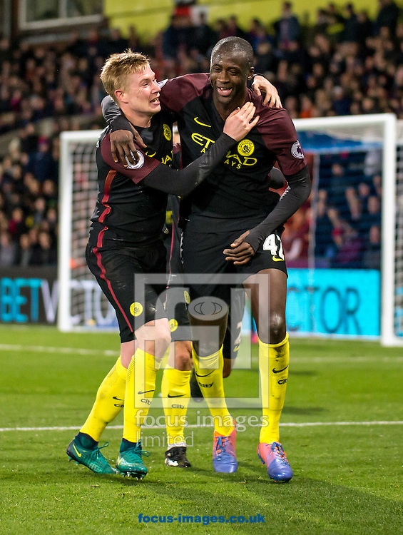 Yaya Toure of Manchester City celebrates with Kevin De Bruyne during the Premier League match at Selhurst Park, London<br /> Picture by Liam McAvoy/Focus Images Ltd 07413 543156<br /> 19/11/2016