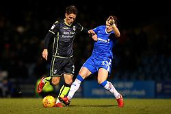 Tom Nichols of Bristol Rovers is tackled by Mark Byrne of Gillingham - Mandatory by-line: Robbie Stephenson/JMP - 16/12/2017 - FOOTBALL - MEMS Priestfield Stadium - Gillingham, England - Gillingham v Bristol Rovers - Sky Bet League One