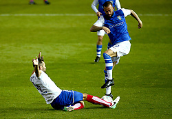 Sam Hird of Chesterfield tackles Steven Fletcher of Sheffield Wednesday - Mandatory by-line: Robbie Stephenson/JMP - 08/08/2017 - FOOTBALL - Hillsborough - Sheffield, England - Sheffield Wednesday v Chesterfield - Carabao Cup